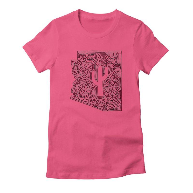 Arizona maze (black) Women's Fitted T-Shirt by I Draw Mazes's Artist Shop