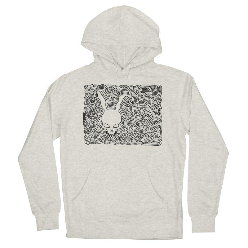 Rabbit maze (black) Men's Pullover Hoody by idrawmazes's Artist Shop