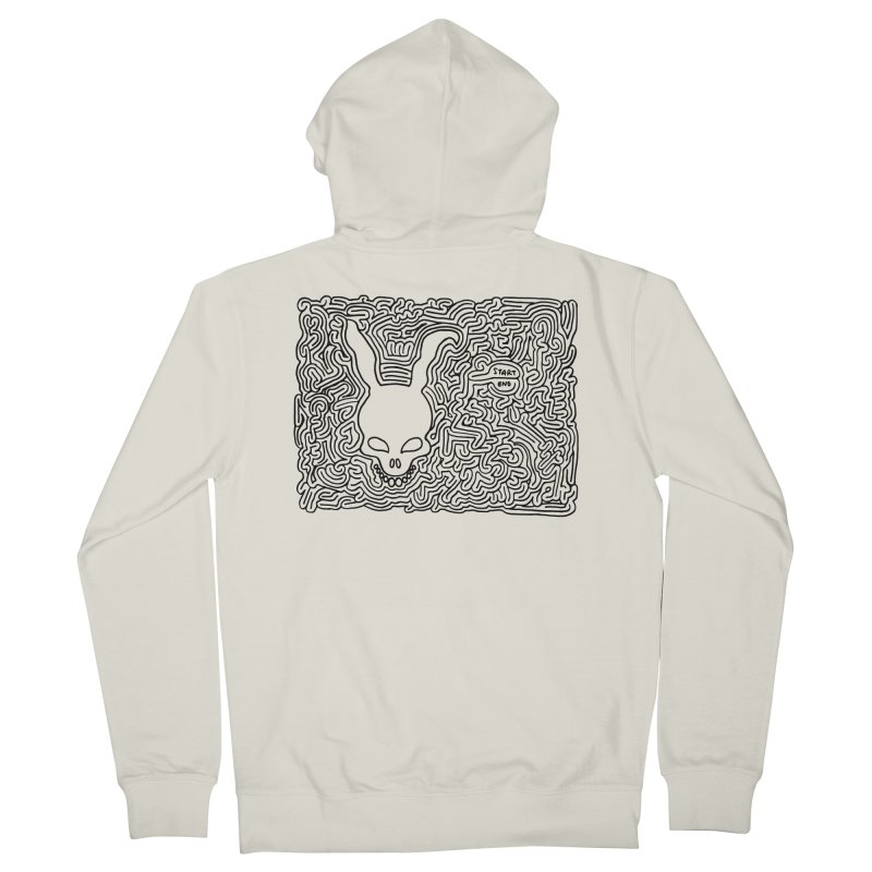 Rabbit maze (black) Men's Zip-Up Hoody by idrawmazes's Artist Shop