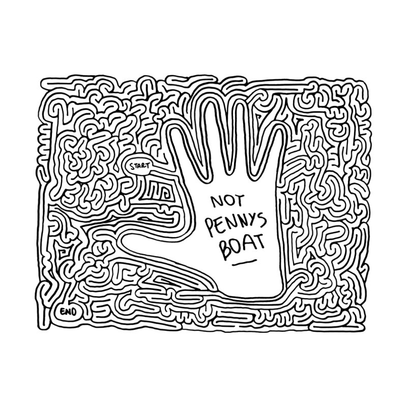 Not Penny's Boat maze (black) by idrawmazes's Artist Shop