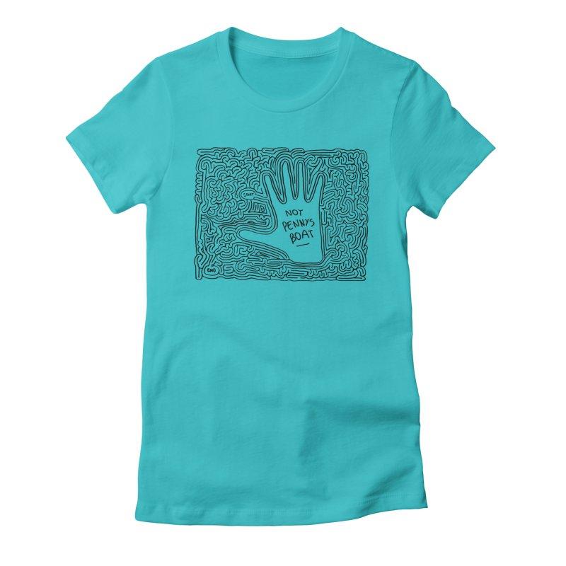 Not Penny's Boat maze (black) Women's Fitted T-Shirt by idrawmazes's Artist Shop