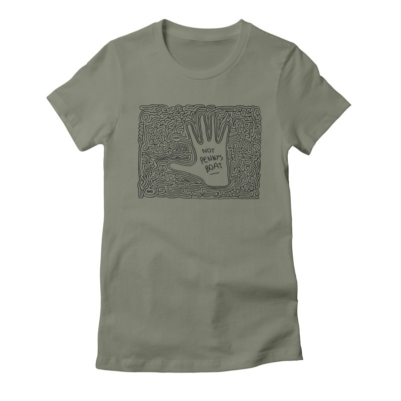 Not Penny's Boat maze (black) Women's Fitted T-Shirt by idrawmazes's Artist Shop