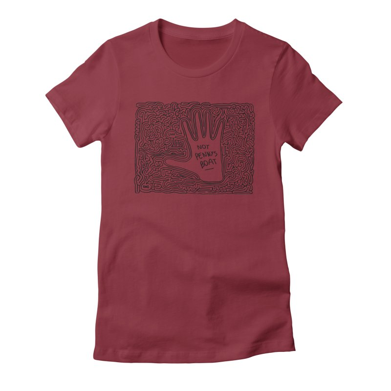 Not Penny's Boat maze (black) Women's Fitted T-Shirt by I Draw Mazes's Artist Shop