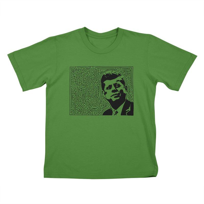 JFK maze Kids T-Shirt by idrawmazes's Artist Shop