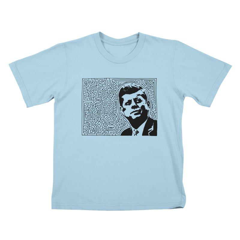 JFK maze Kids T-Shirt by I Draw Mazes's Artist Shop