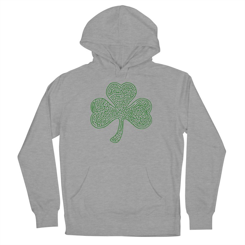 Shamrock (green) Men's French Terry Pullover Hoody by I Draw Mazes's Artist Shop