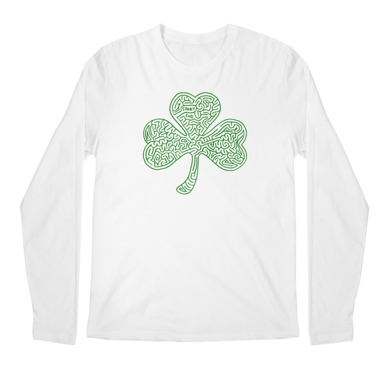 Shamrock (green) Men's Regular Longsleeve T-Shirt by I Draw Mazes's Artist Shop
