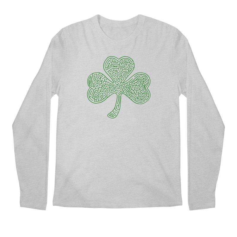 Shamrock (green) Men's Regular Longsleeve T-Shirt by I Draw Mazes's Artist Shop
