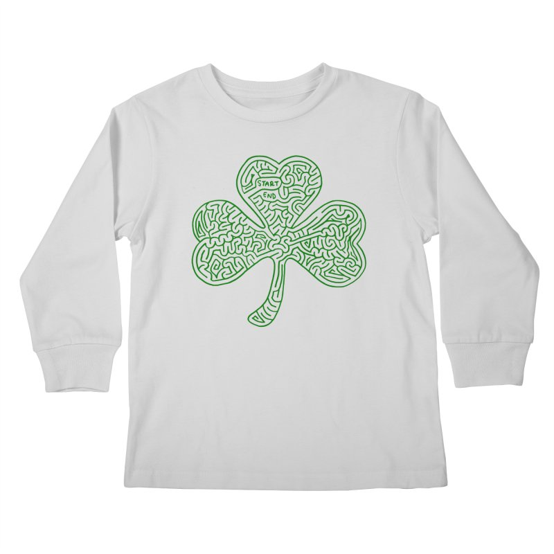 Shamrock (green) Kids Longsleeve T-Shirt by I Draw Mazes's Artist Shop