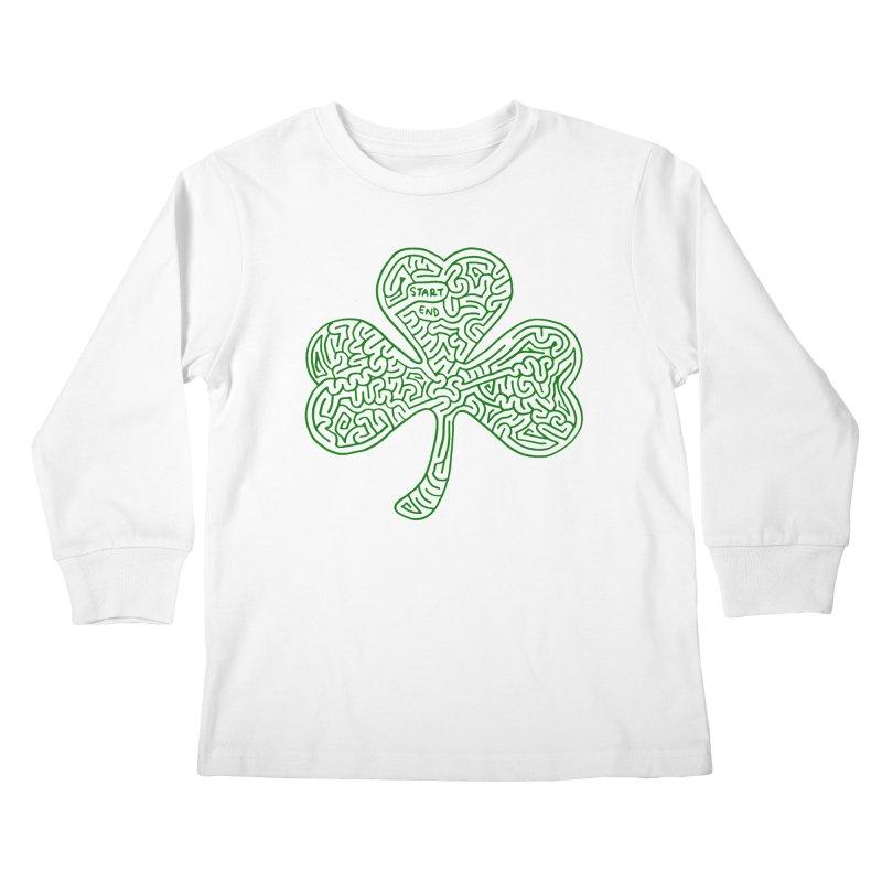 Shamrock (green) Kids Longsleeve T-Shirt by I Draw Mazes's Artist Shop