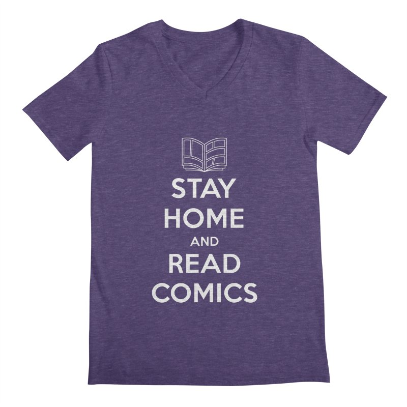Stay Home and Read Comics Men's Regular V-Neck by iFanboy