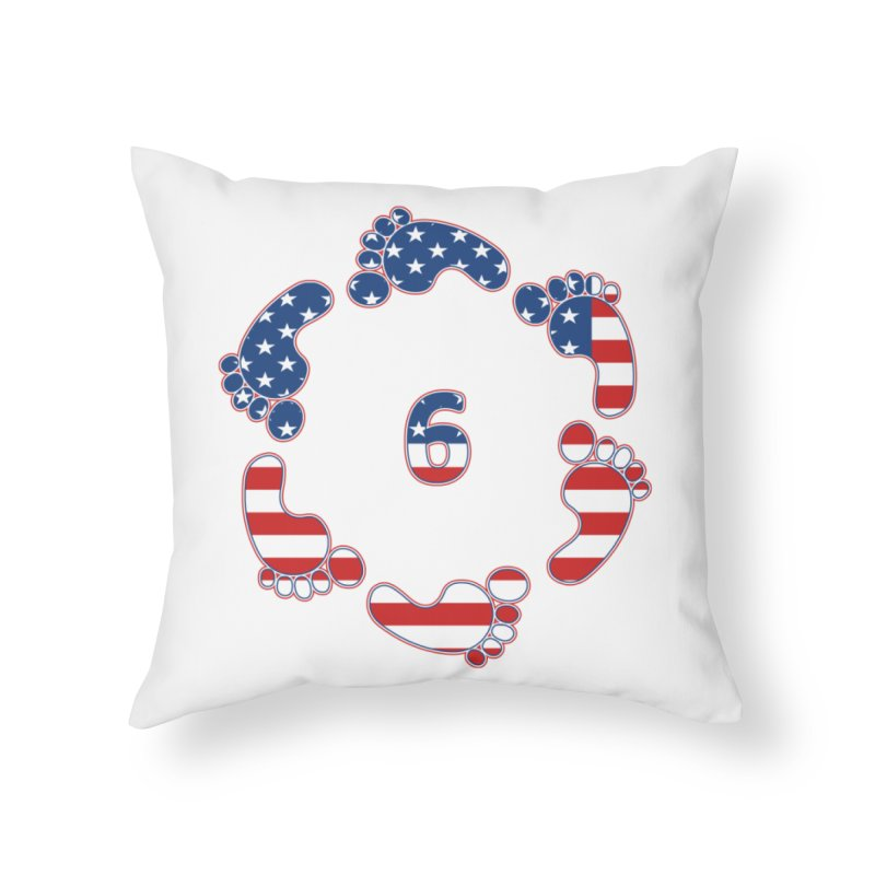 6 Feet USA Home Throw Pillow by iffopotamus