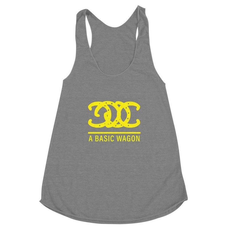 A Basic Wagon (Yellow Logo) Women's Racerback Triblend Tank by iffopotamus