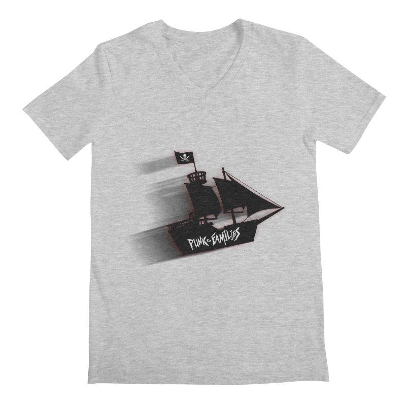Punk for Families Pirate Ship Men's Regular V-Neck by iffopotamus