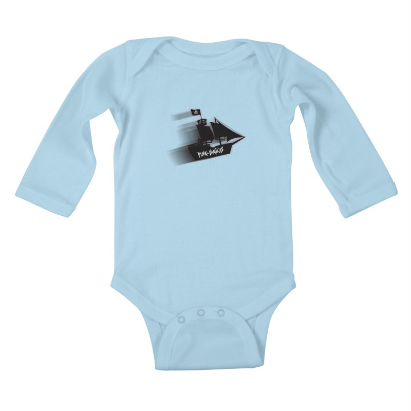 Punk for Families Pirate Ship Kids Baby Longsleeve Bodysuit by iffopotamus