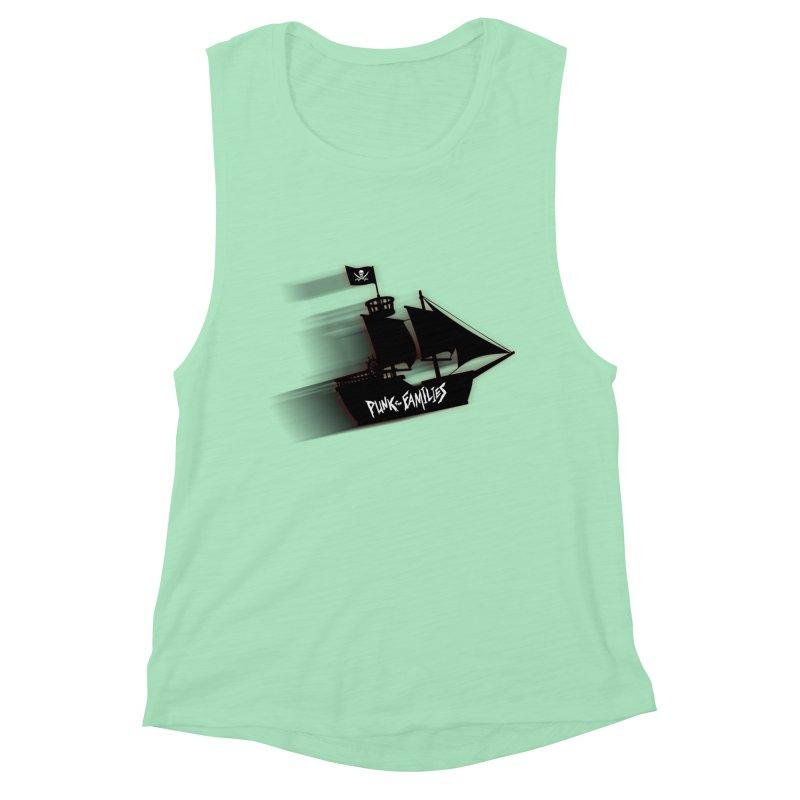 Punk for Families Pirate Ship Women's Muscle Tank by iffopotamus