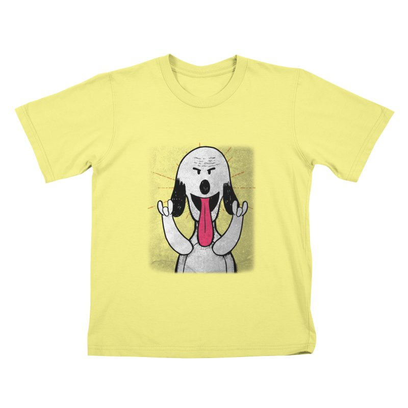 Guau Rocks in Kids T-Shirt Canary by Iggie No Pop's Artist Shop