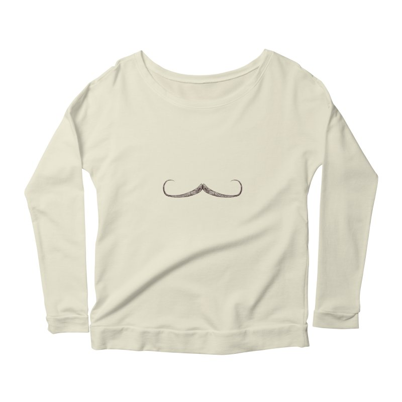 Handlebar Moustache Women's Longsleeve Scoopneck  by igloo's Artist Shop