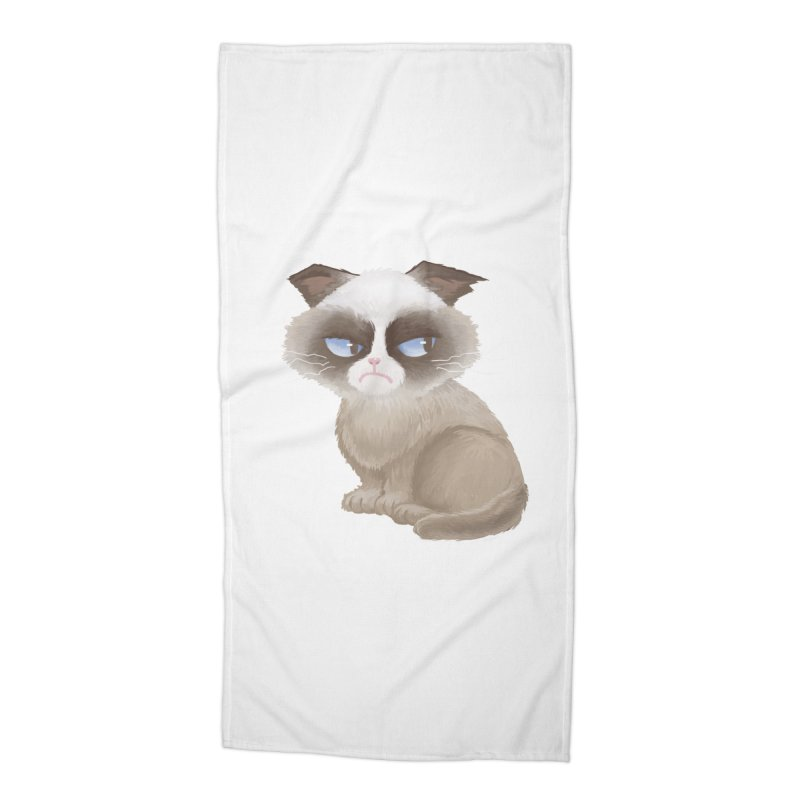 Grumpy cat Accessories Beach Towel by Igzell's Artist Shop