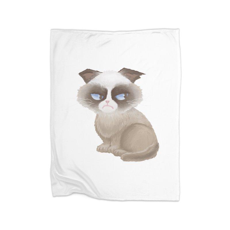 Grumpy cat Home Fleece Blanket Blanket by Igzell's Artist Shop