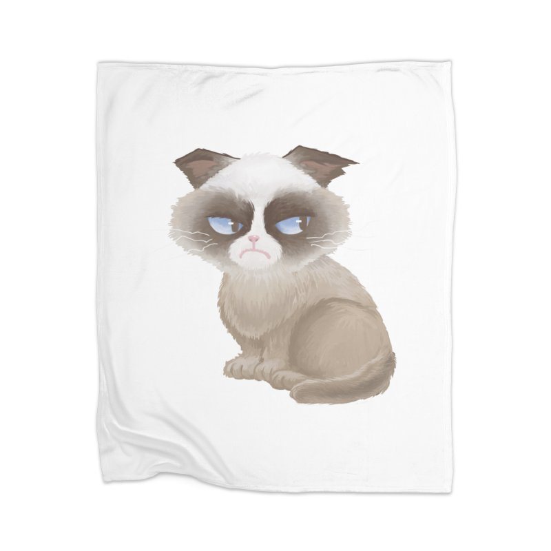 Grumpy cat Home Blanket by Igzell's Artist Shop