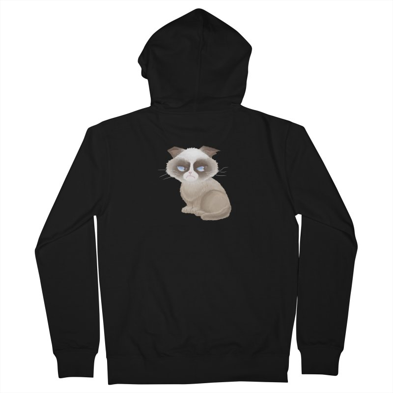 Grumpy cat Men's French Terry Zip-Up Hoody by Igzell's Artist Shop