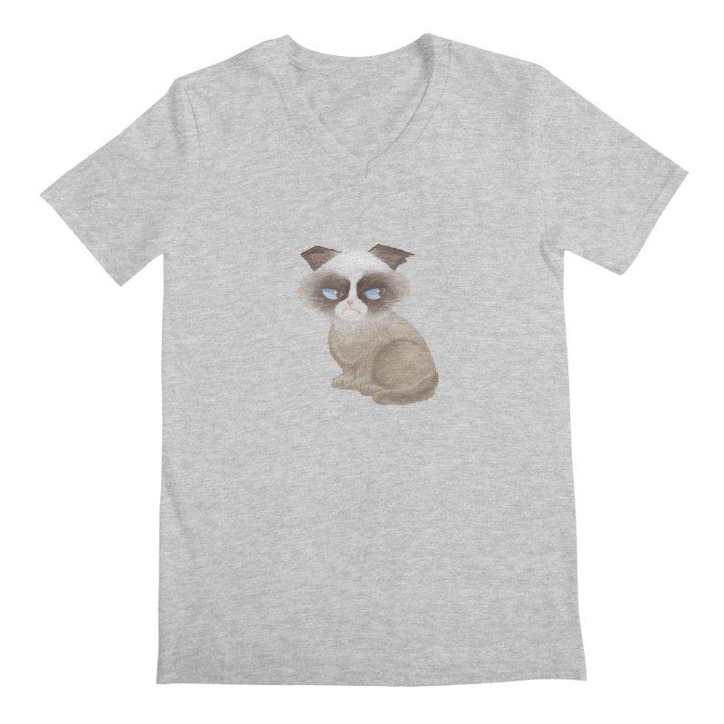Grumpy cat Men's Regular V-Neck by Igzell's Artist Shop