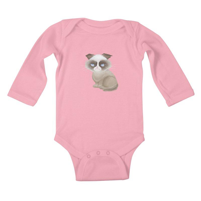 Grumpy cat Kids Baby Longsleeve Bodysuit by Igzell's Artist Shop