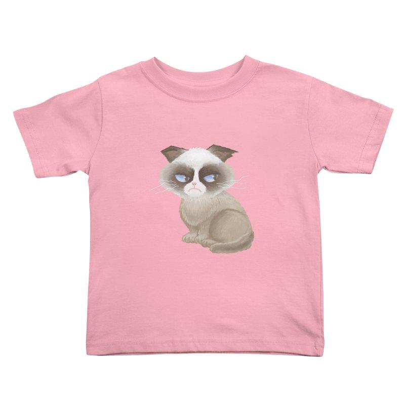 Grumpy cat Kids Toddler T-Shirt by Igzell's Artist Shop