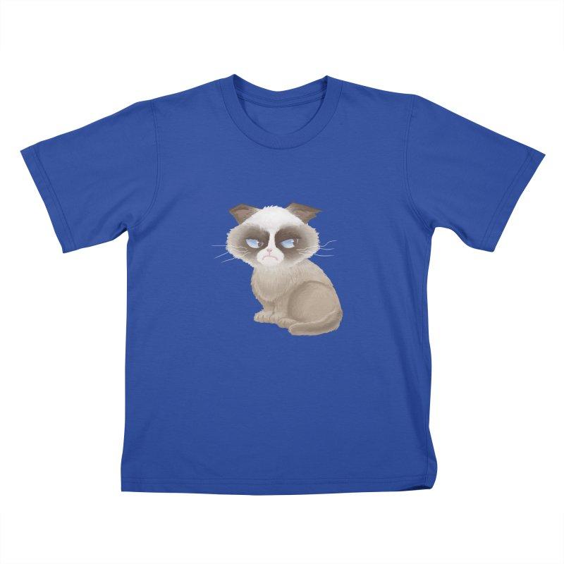 Grumpy cat Kids T-Shirt by Igzell's Artist Shop