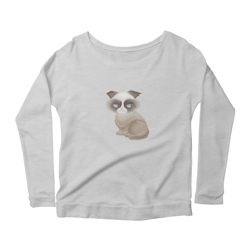 Grumpy cat Women's Scoop Neck Longsleeve T-Shirt by Igzell's Artist Shop