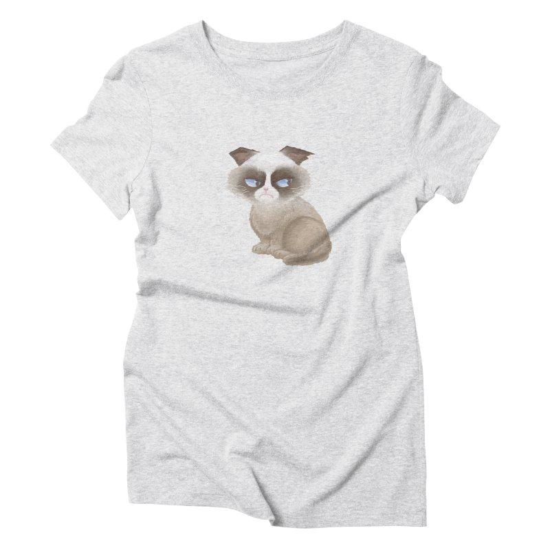 Grumpy cat Women's Triblend T-Shirt by Igzell's Artist Shop