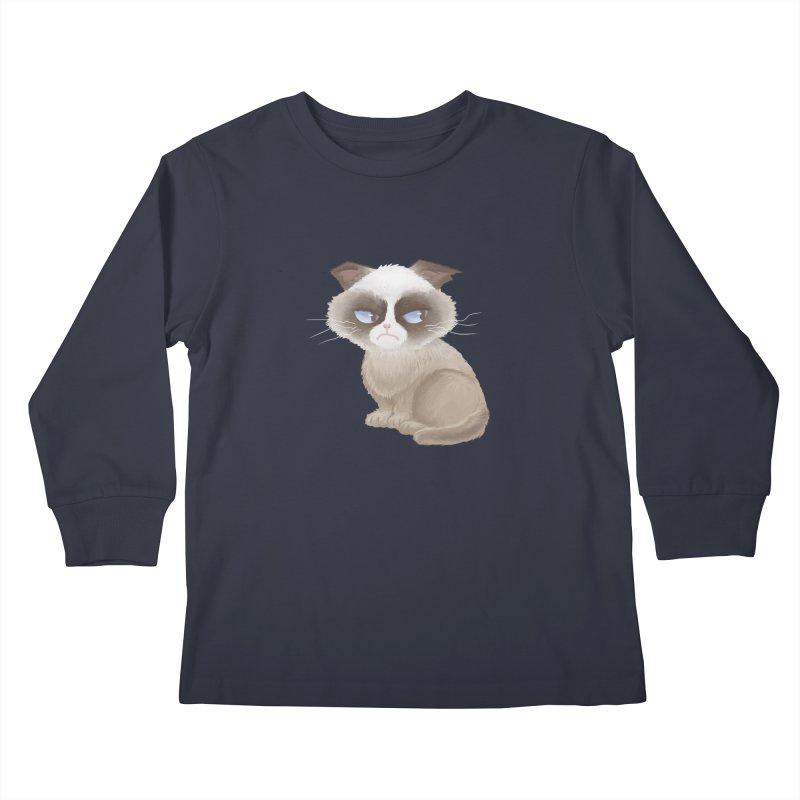 Grumpy cat Kids Longsleeve T-Shirt by Igzell's Artist Shop