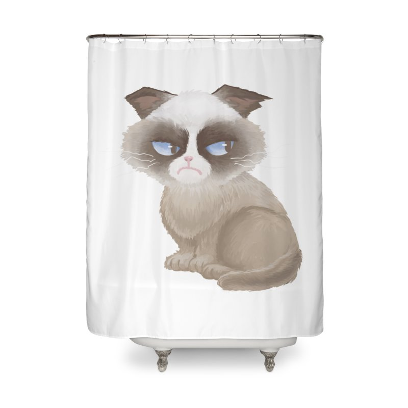 Grumpy cat Home Shower Curtain by Igzell's Artist Shop