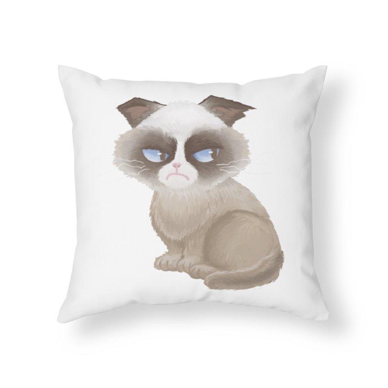 Grumpy cat Home Throw Pillow by Igzell's Artist Shop