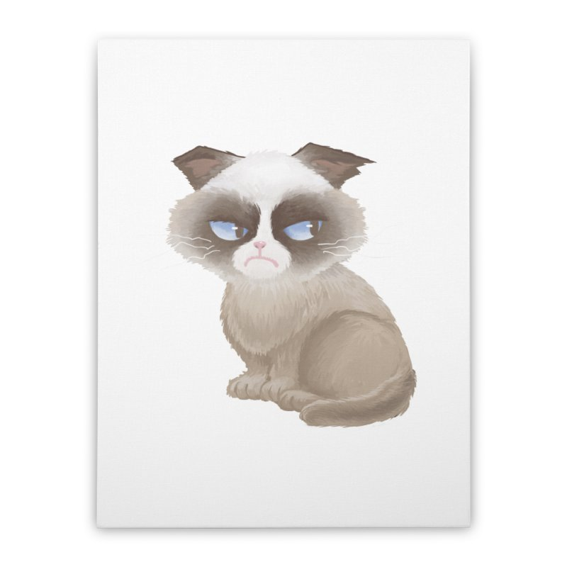 Grumpy cat Home Stretched Canvas by Igzell's Artist Shop