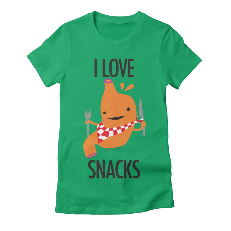 Stomach - I Love Snacks Women's Fitted T-Shirt by I Heart Guts