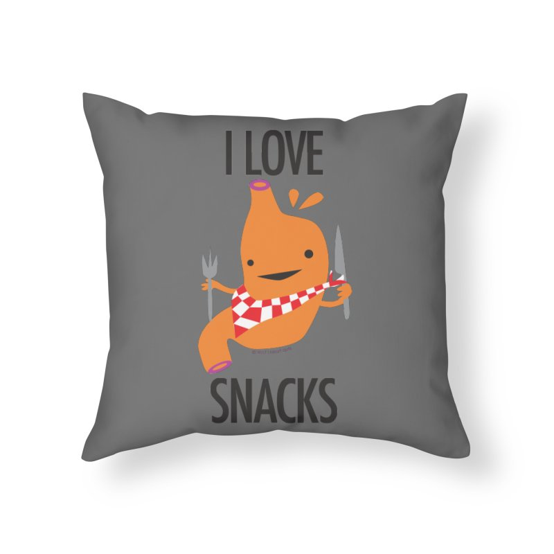 Stomach - I Love Snacks Home Throw Pillow by I Heart Guts