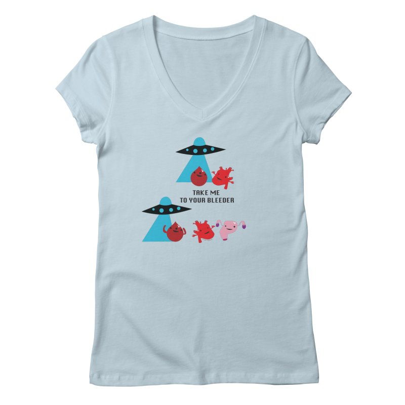 Uterus UFO - Take Me To Your Bleeder Women's V-Neck by I Heart Guts