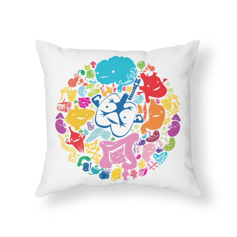 Gutsy Rainbow Home Throw Pillow by I Heart Guts