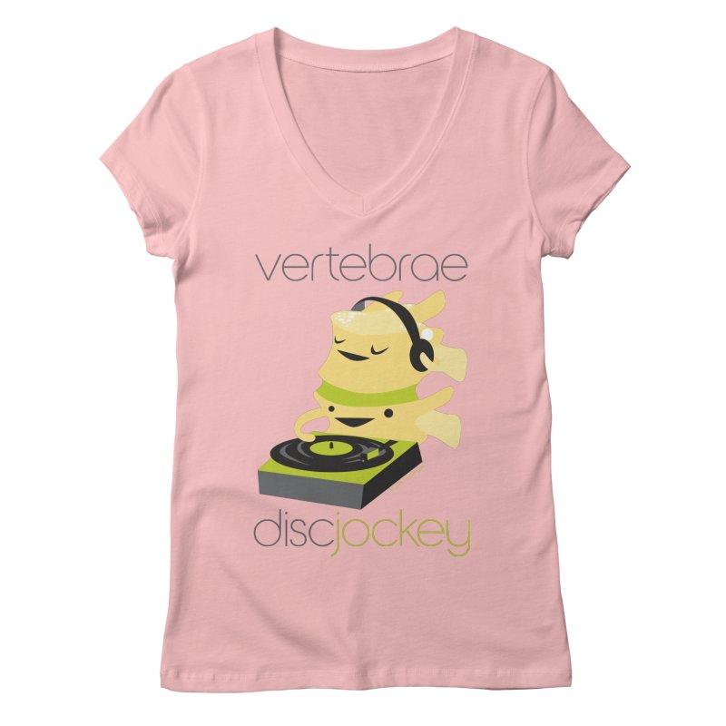 Vertebrae - Disc Jockey Women's Regular V-Neck by I Heart Guts