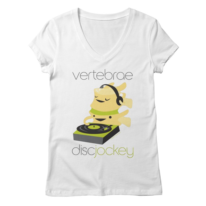 Vertebrae - Disc Jockey in Women's Regular V-Neck White by I Heart Guts