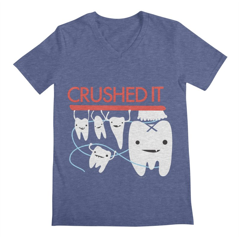 Teeth - Crushed It Men's Regular V-Neck by I Heart Guts