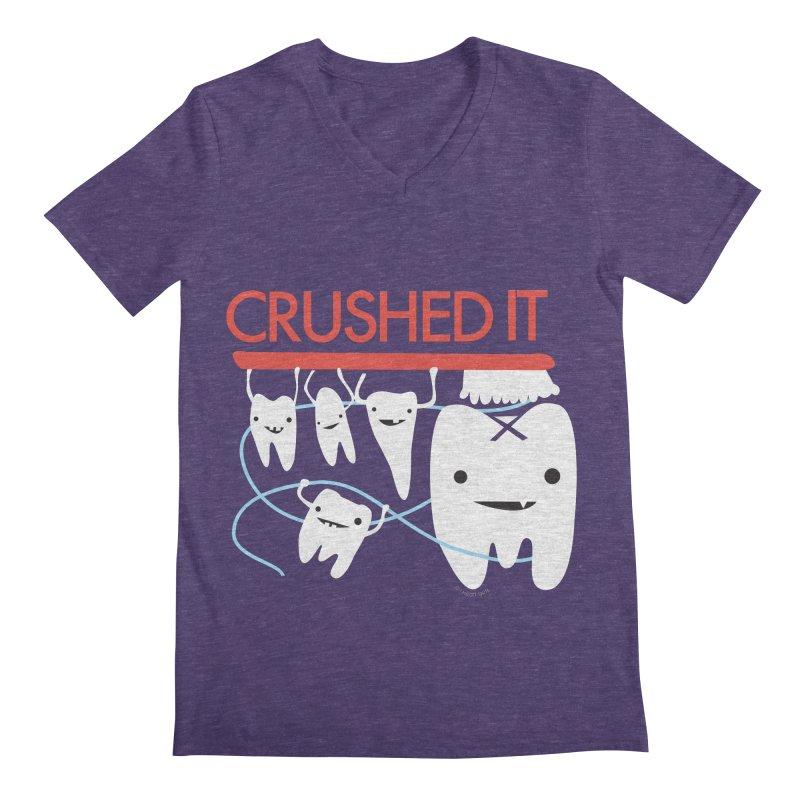 Teeth - Crushed It Men's Regular V-Neck by I Heart Guts