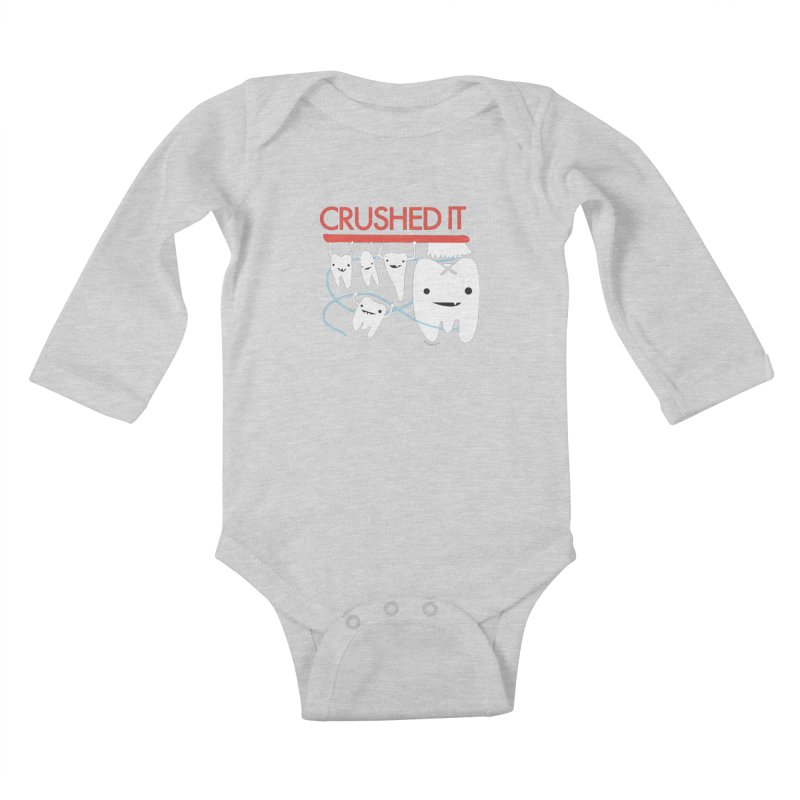 Teeth - Crushed It Kids Baby Longsleeve Bodysuit by I Heart Guts