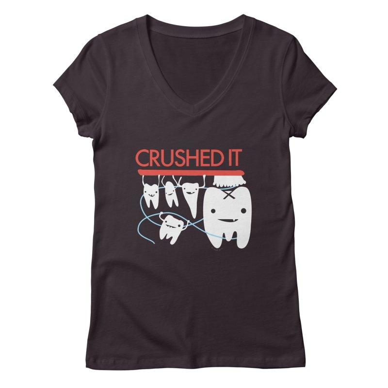 Teeth - Crushed It Women's Regular V-Neck by I Heart Guts