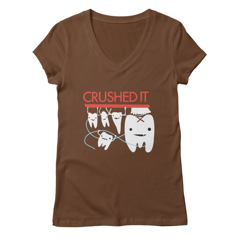 Teeth - Crushed It Women's Regular V-Neck by I Heart Guts