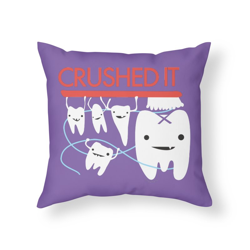 Teeth - Crushed It in Throw Pillow by I Heart Guts