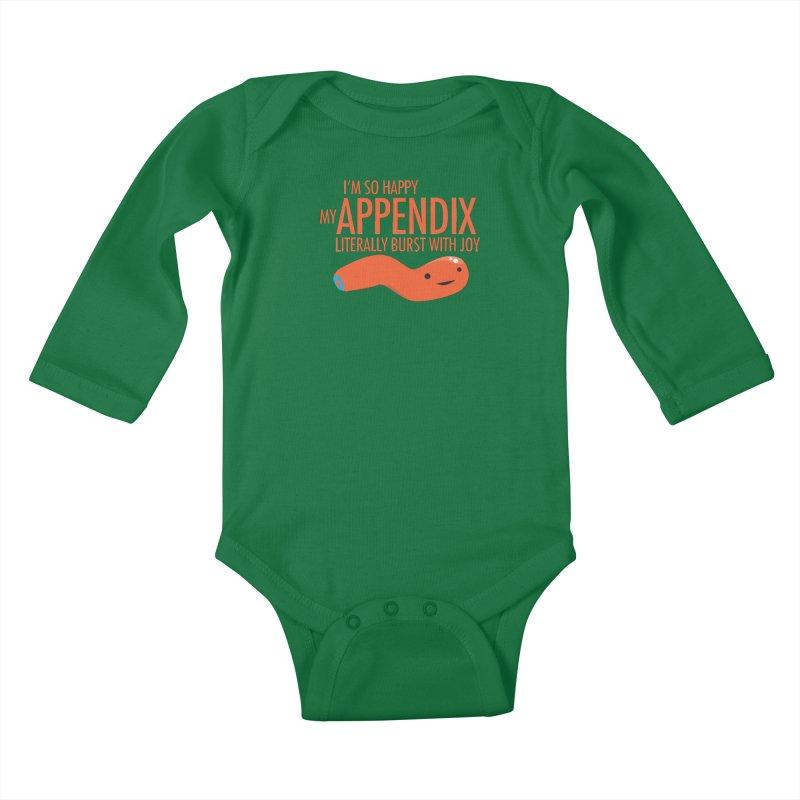 Appendix Literally Burst With Joy Kids Baby Longsleeve Bodysuit by I Heart Guts