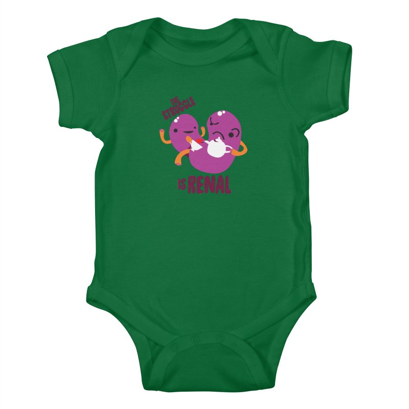 Kidney - The Struggle is Renal Kids Baby Bodysuit by I Heart Guts